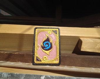 Hearthstone Dalaran Flame Leather Handmade Geek Cardholder, Gamer Perfect Birthday Gift, Leather Handcrafted Gift