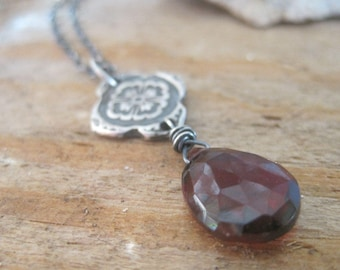 Red Garnet Gemstone Necklace, Fine Silver Mehndi Design, January Birthstone Jewelry, Gift for Her