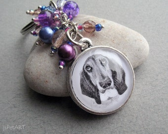 Basset Hound Beaded Key Ring, Pet Drawing, Pet Gift, Basset Hound Keychain, Dog Art, Purple, Cobalt, Dark Blue