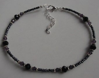 Black and purple beaded anklet, ankle bracelet, beaded anklet, beach anklet, beach jewellery, seed bead anklet, boho anklet, boho jewellery