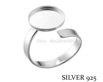 12mm - discount - Cabochon 925 sterling silver ring