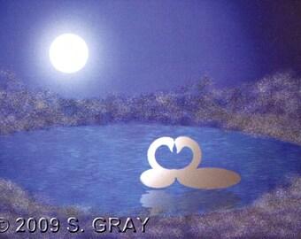 ACEO SFA Love swans digital art print pond moon night romance Valentine abstract limited edition nitelvr