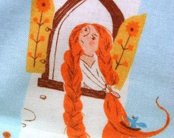 Rapunzel Child's Blanket, Heather Ross Far Far Away II Fabric, Fairytale Lap Blanket, Princess Throw, Hand-Tied Quilt, Tablecloth, Cotton
