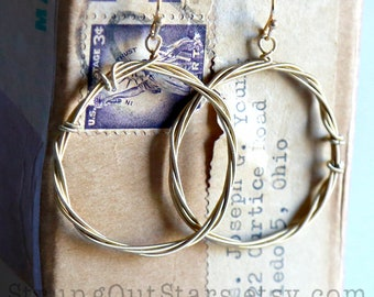 Halo - Bronze Strung-Out guitar string hoop earrings