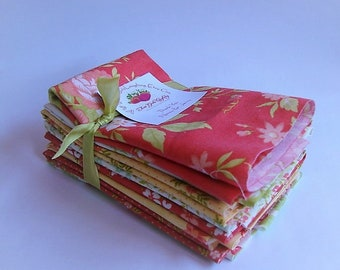 Moda Fabrics Fat Eights Bundle - Ella & Ollie - Coney Island - Stash Builder - 8 Cuts - Pretty Medium Prints Florals Feminine Fabric Destash
