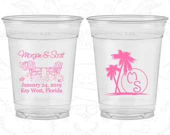 Beach, Customized Soft Plastic Cups, Palm Trees, Beach Chair, Monogrammed, Monogram, Disposable Cups (23)