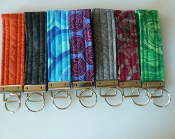 Wristlet key fob, handcrafted and unique wrist key chain, key chain in current designer fabric, cotton wristband for keys, free shipping USA