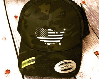 Leather patch hat, Police Officer, Hat, Cap, Snap back, Multi Cam, America, Merica, USA, Flag, Military, Police, army, Marines, navy