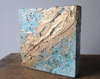 Teal Turquoise Gold Abstract Mixed Media Painting