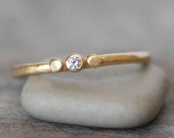 Tiny Diamond and Gold Wedding Ring - 18k Gold Skipping Stone Ring - Choose 14k OR 18k - Choose Diamond Color