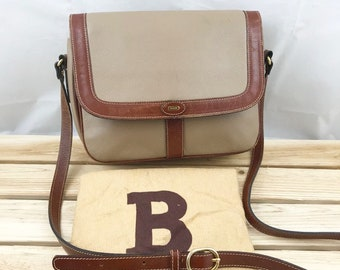BALLY Crossbody Flap Bag made of Gray and Brown Leather