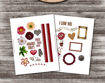Daily Planner, Digital, Printable, Element Stickers: Always Yours