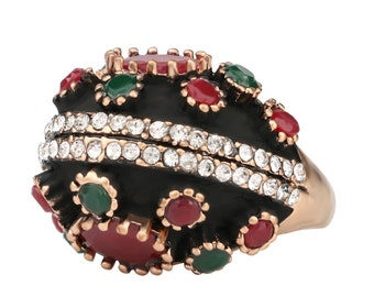 Bohemian Resin Black Multicolor Vintage Ring