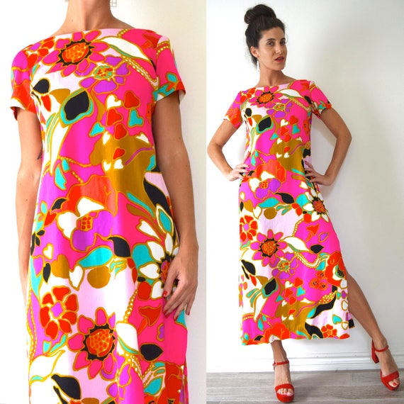 Vintage 60s Psychedelic Print Maxi Dress (size medium)
