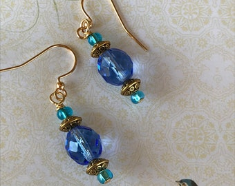 Sapphire blue earrings, blue and teal, dangle earrings, beaded earrings, blue czech faceted earrings, gold and blue earrings