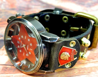 "Steampunk Clock ""USSR VLKSM"" quartz watch, natural leather."