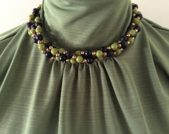 Beaded twist necklace colors of green/gold/black