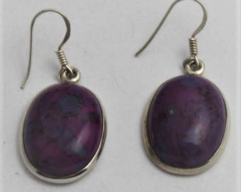 Purple Mohave Earrings with Copper and Silver Fixings