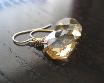Octagon Swarovski Crystal Earrings in Golden Shadow...Gold filled...FREE SHIPPING