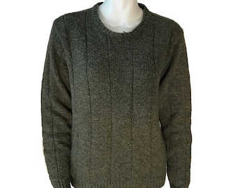 Oleg Cassini Green Wool Blend Crewneck Women's Sweater - Size Small