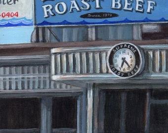 Limited Edition Art Print of Diner Restaurant, Print of Original Painting by Debbie Shirley