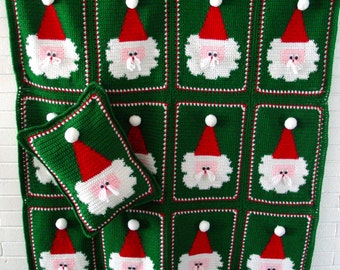 Jolly Santa Afghan and Pillow Crochet Pattern PDF