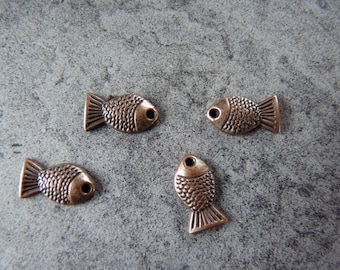 Copper fish charm X 4