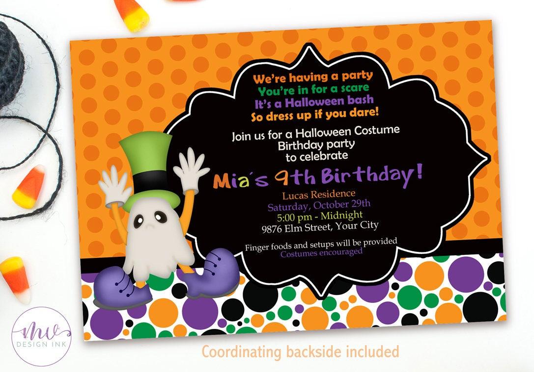 Kids Halloween Costume Party Invitation Spooky Halloween