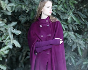 double breasted wool jacket, cashmere coat, wool coat, semi length coat, wool poncho, 100% wool cape, wool cloak, long cloak, christmas gift