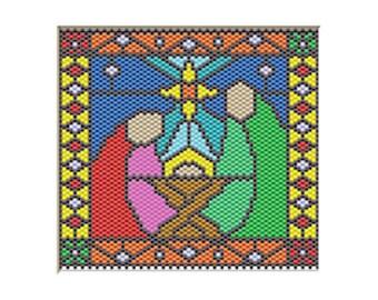 Joseph, Mary, and baby Jesus Nativity pony bead banner pattern