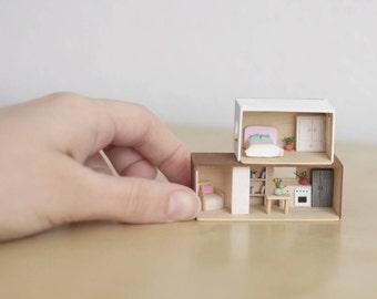 Modern Dollhouse, miniature house, mini dolls house, Dollhouse Miniatures