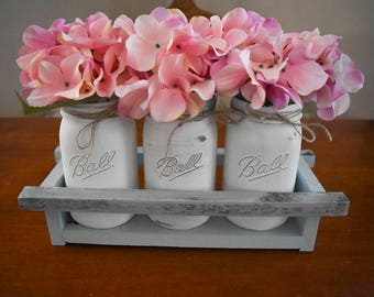 Rustic white Mason jar centerpiece, farmhouse decor, reclaimed wood planter box