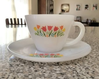 Fire King Tulips Teacup and Saucer