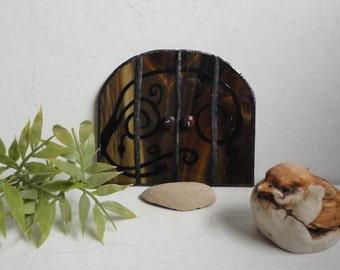 Fairy Door, Garden Sculpture, Outdoor Garden Art, Indoor Home Decor, Stained Glass, Fairy Garden, Terrarium Decor, Brown, Fae Faerie Portal
