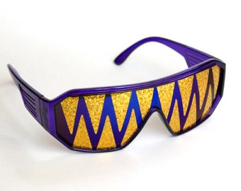 Rasslor Purple and Gold Shark Teeth Shield Sunglasses