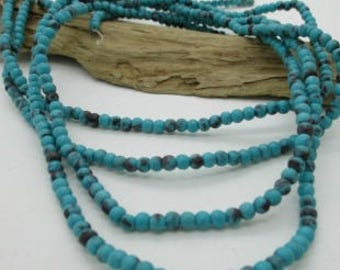 "Blue Turquoise Magnesite Rounds, Small Turquoise Rounds, 3mm Stone Bead, Blue Stone Spacer Bead, 3mm (15"")"