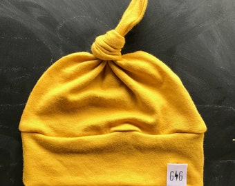 Baby Knot Hat, Mustard Yellow, Baby Hat, Knot Hat, Infant Hat, Baby Boy Hat, Toddler Hat, Baby Hospital Hat,