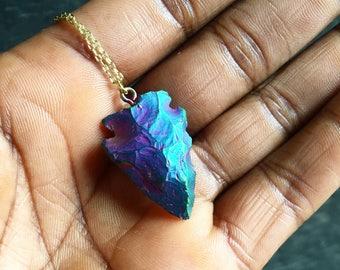 Stone Arrowhead Necklace // Iridescent Arrowhead Necklace // Titanium Arrowhead Necklace // Layering Necklace // Layered Necklace / Necklace