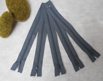 Grey zipper 20 cm - set of 5 - not separable