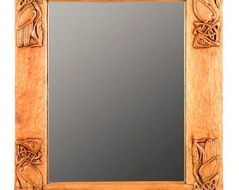 Celtic aves espejo tallado en madera, talla en madera hecha a mano, 23,6 x 19,2 en.