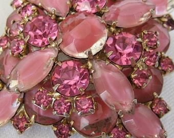 VINTAGE Square Stack Pink Rhinestone Costume JEWELRY Brooch