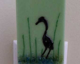 Fused Glass Night Light: Heron on Green