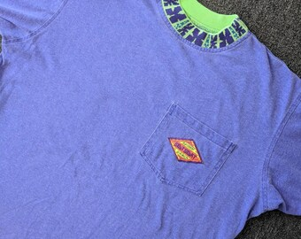 Vintage 80s 90s Spot Sport European Beach T-shirt with Pocket - Soft, Patterned Collar Size Medium Heathered Purple / Lime Green Made in US