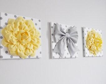 "THREE - Wall Decor - Light Yellow Dahlias and Gray Bow on Polka Dot 12 x 12"" Canvases Wall Art - Yellow and Gray Baby Nursery Wall Decor -"
