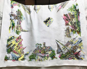 Vintage Tablecloth Home Decor  Kitchen Decor Vintage Linens British Souvenir Cotton Tablecloth  London Historical Buildings