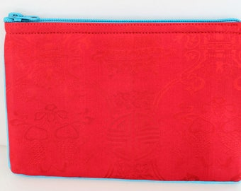 Silk Brocade Zipper Pouch,Small Clutch Purse, Cosmetic Bag, Padded Makeup Bag, Accessory Bag