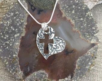 Heart Cross Fine Silver Pendant