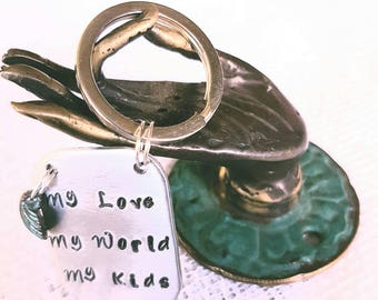 Tag Keyring with a Mykonos Greek Scallop Shell Charm in turq Patina.  Mothers Day gift.