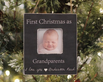 Grandparents Ornament Christmas GIFT Personalized Photo Ornament Gift First Christmas as Grandparents New Baby