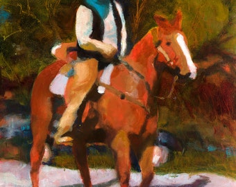 Cowboy Art, Horse Painting, Western Art, Cowboy Oil Painting